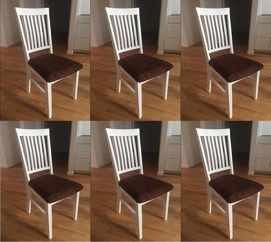 6 esszimmerst hle aus eiche massivholz weiss lackiert mit sitzbezug classico 2 ebay - Esszimmerstuhle massivholz ...