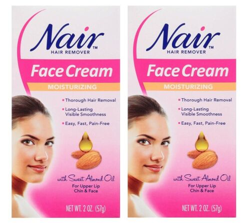 2x Nair Hair Remover Moisturizing Face Cream 2 oz With Sweet Almond Oil