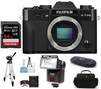Fujifilm X-T20 Mirrorless Digital Camera Black 64GB SDXC PRO Bundle