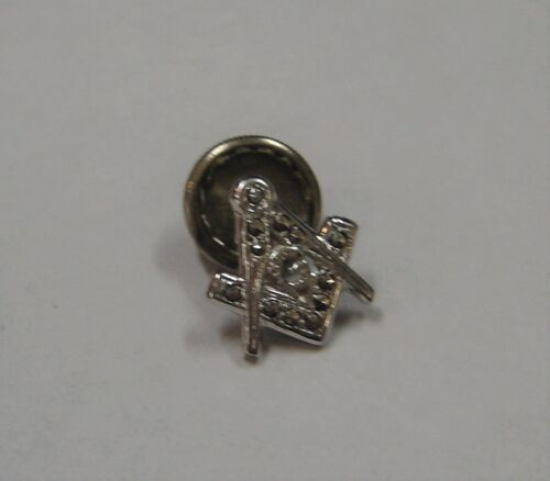 Masonic sterling silver with marcusite stone lapel pin 198-B
