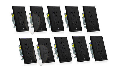 (10 Pack) 20A GFCI Receptacle Outlet w/ LED & Wallplate UL Listed - Black 20 Amp