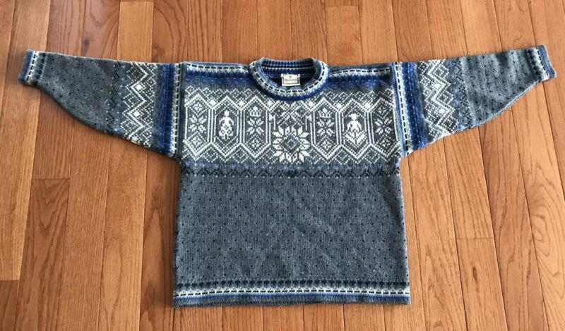 Dale of Norway Kids Nordic Fair Isle 100% New Wool Blue Gray Crew Pullover Sz 10