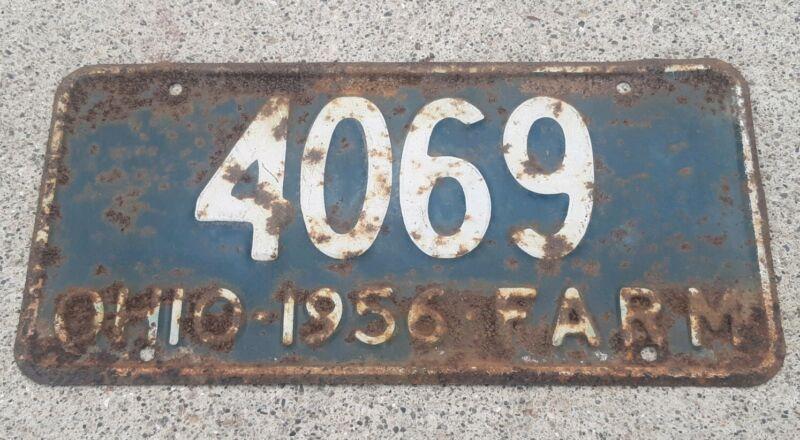 Vintage 1956 Ohio State Farm License Plate #4069 rusty country decor JOHN DEERE