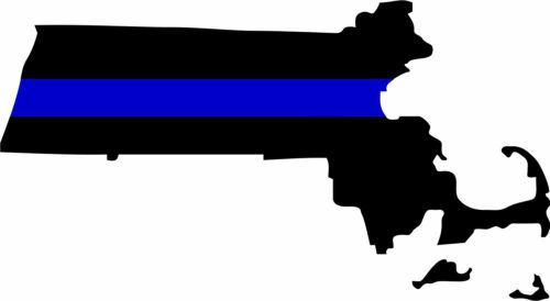 """Thin Blue Line State of Massachusetts 6"""" x 4"""" Exterior REFLECTIVE window Decal"""