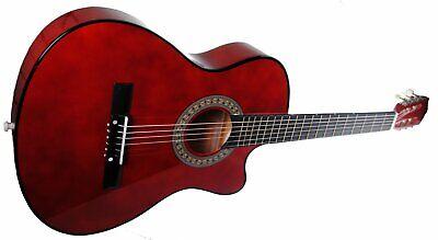 "Full Size 38"" Acoustic Country Bluegrass Cutaway Guitar + Gig Bag - Walnut"