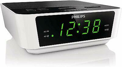 New Philips Digital Dual Alarm Clock FM Radio LED Display Buzzer Snooze Timer