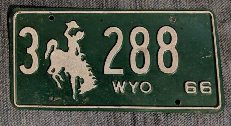 Original 1966 Wyoming License Plate