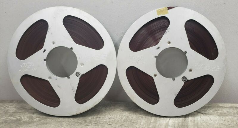 """*Lot of 2* Scotch Metal 10.5 Inch """"1/4"""" Reels w/ Tape (Content Unknown) Vintage"""