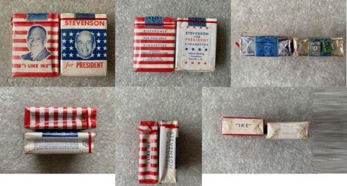 VINTAGE/COLLECTABLE 1952 PRESIDENTIAL CAMPAIGN 2 CIGARETTE PACKETS FREE SHIPPING
