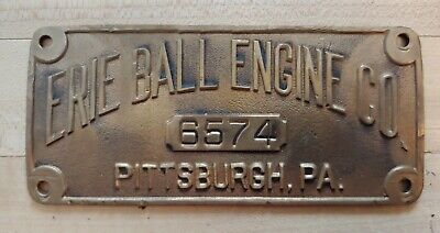 Antique Erie Ball Engine Co Pittsburgh Pa Brass Plate