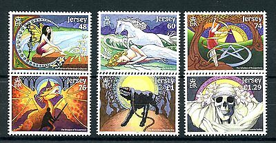 Jersey 2016 MNH Myths & Legends 6v Set Fairies Dragons Witches Black Dog Stamps