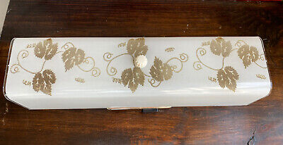 """14"""" Mid-Century Modern Vintage Bathroom Vanity Light FixtureGlass Shade Leaves"""