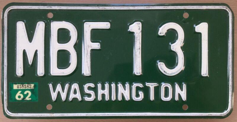 1958 WASHINGTON SKAGIT COUNTY License Plate # MBF 131 w/ 1962 Sticker