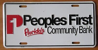 1995 Peoples First Floridas Community Bank Booster License Plate