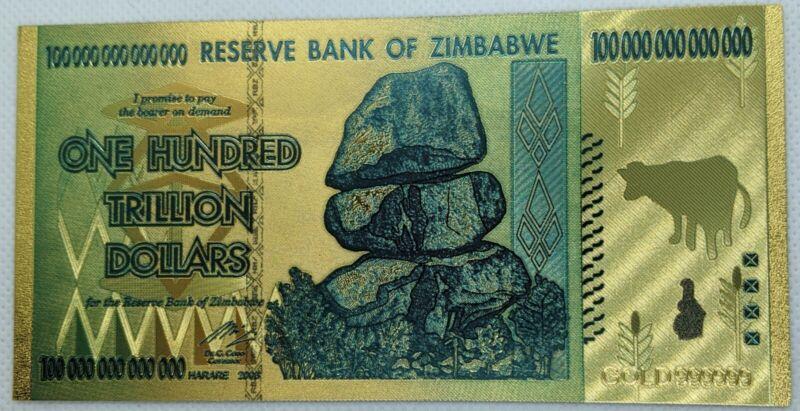 Zimbabwe 100 Trillion Dollar - 24k Gold Foil Note