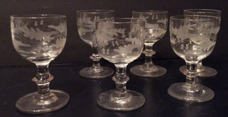 Set of six 6 Etched Acorns and Leaves Wine  Blown Stem Glass 1780-1810