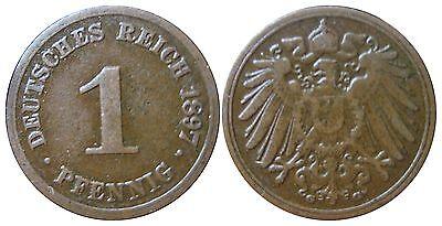 J 10   1 Pfennig Kaiserreich 1897 G in VZ  502801