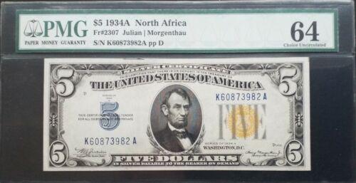 1934A $5 Julian/Morgenthau North Africa Silver Certificate PMG 64 *Nice*