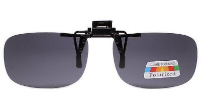 Polarized Gray Lens Rectangle Rx Eyeglasses Clip On Flip Up Driving Sun (Polarized Clip-on Sunglasses Gray)