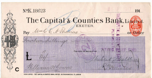 RMS Titanic Relief Fund Check Olympic and White Star LIne Interest