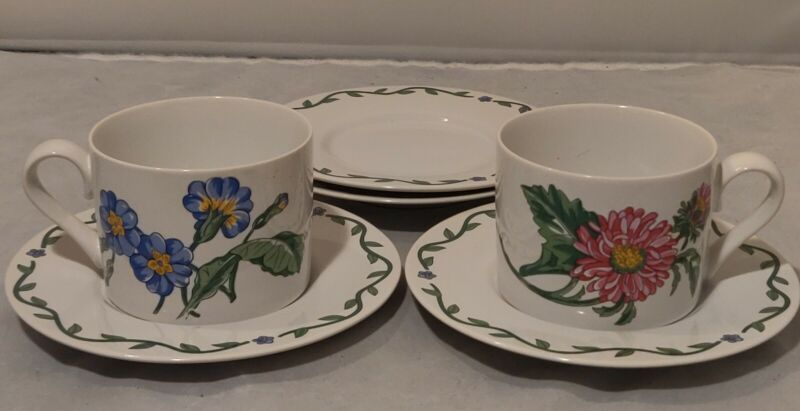 International Tableworks Terrace Blossoms Coffee Tea Cup & Saucer Set of 2 & 4