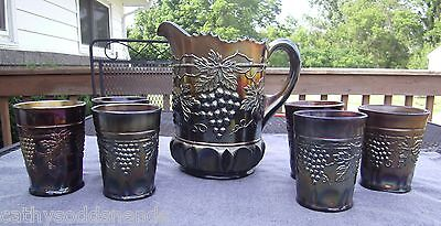 NORTHWOOD AMETHYST CARNIVAL GRAPE & CABLE WITH THUMBPRINT PITCHER & TUMBLER SET