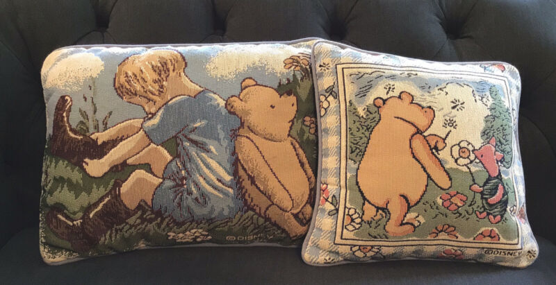 Vintage Disney Winnie the Pooh-Christopher Robin-Piglet Tapestry Pillows ~ NICE!