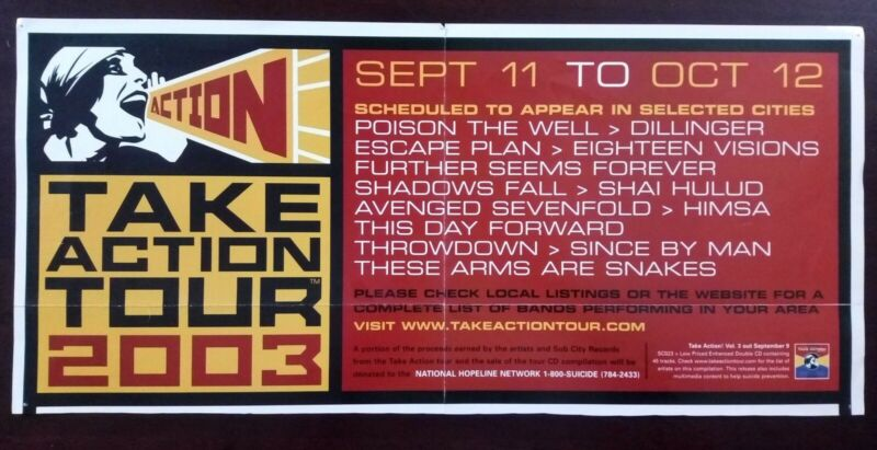 """Poison The Well Avenged Sevenfold Take Action Tour 2003 Poster 18"""" x 8.4"""""""