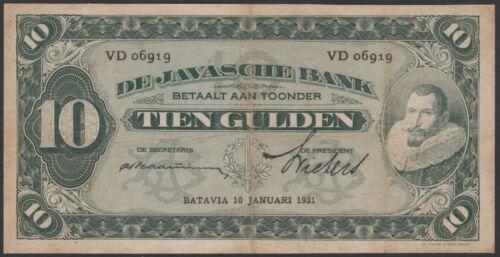 Netherlands Indies 10 gulden 1931 Coen II, VF, Pick 70