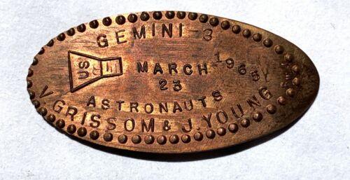 GEMINI 3 - ASTRONAUTS V.GRISSOM & J.YOUNG 1965 -  ELONGATED PENNY
