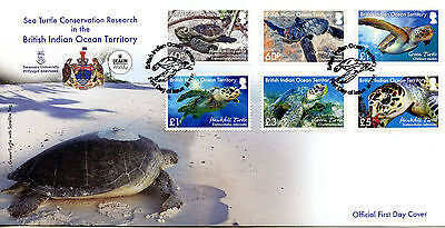 Brit Indian Ocean Ter BIOT 2016 FDC Sea Turtle Research 6v Cover Turtles Stamps
