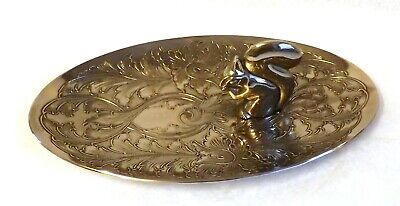 Very Pretty Vintage Silver Plated Bon Bon or Pin Dish With Squirrel Handle