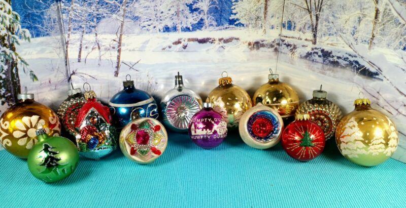 Lot of 14 Vtg GLASS CHRISTMAS ORNAMENTS Stencil Glitter Indent Humpty Dumpty