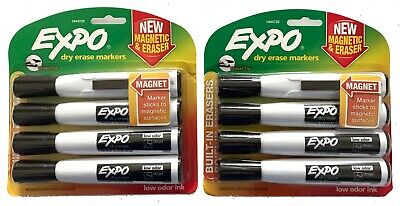 Set Of Two 4-pack Expo Magnetic Dry Erase Black Markers Chisel Tip And Eraser