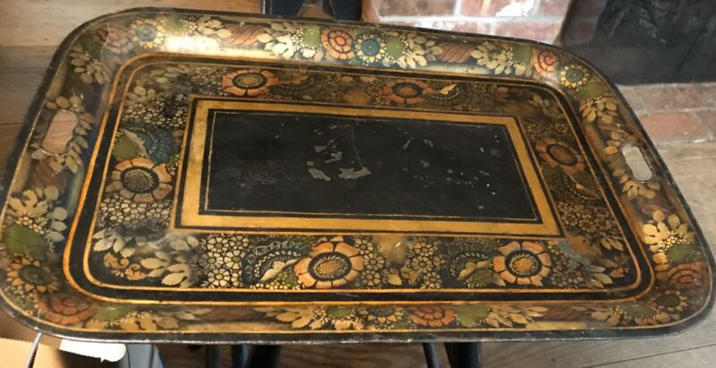 Vintage Large Metal Painted Tole Tray ToleWare  Primitive Towle