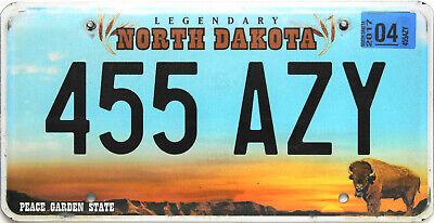 North Dakota  License Plate, Original Nummernschild  USA  455 AZY  ORIGINALBILD