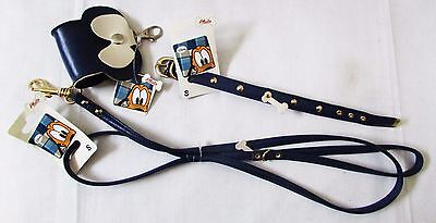 Discontinued Disney Pluto Blue Leather Dog Bag Holder Collar Leash S Lot of 3
