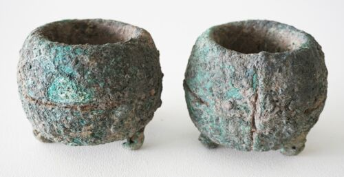Pair Prehistoric B.C. Thai Ban Chiang Heavy Bronze Bracelet (Mil)