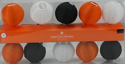 Halloween 10 Fabric Orange Black White LED Ball Lantern String Light Set NIB - Balls Halloween