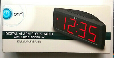 ONN AM/FM Digital Alarm Clock Radio with Large 1.8 Display