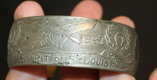 1927 METAL CHARLES LINDBERG SPIRIT OF ST LOUIS COMMERATIVE BRACELET