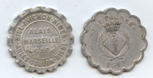 France Pair of Chamber of Commerce Coins (#1298) 1921 10c Marseille & 1917 25c