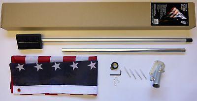 SOLAR Night Lighted Flag Pole Kit 9 LED Bright Lights 3x5 US