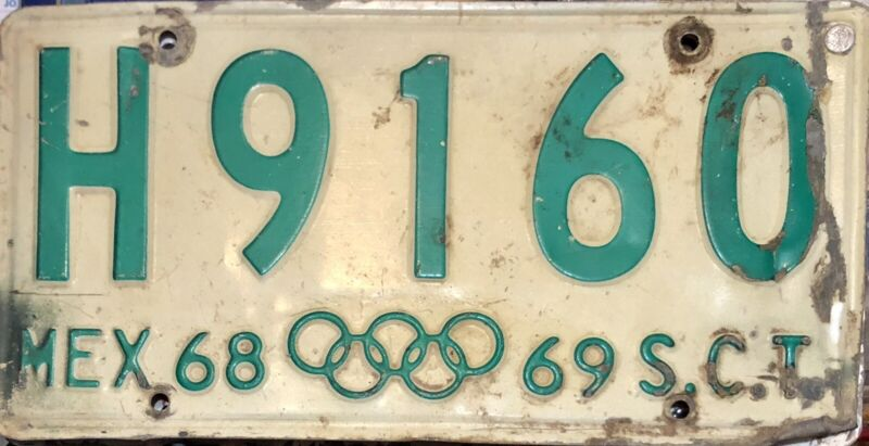 1968/69 Mexico License Plate - Olympics