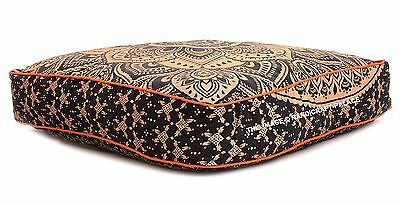 Oro Tresillo Mandala Caja Suelo Cojín Tapa Algodón Indio Meditación Decorativo