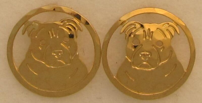Staffordshire Bull Terrier Jewelry Gold Post Earrings