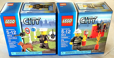 Brand New  Lego City 5612 Police Officer And 5613 Firefighter