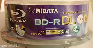 10 Ritek Ridata Blu Ray 3D Discs BD-R/BDR DL 50GB 4x DVD NSR IJP Printable UK