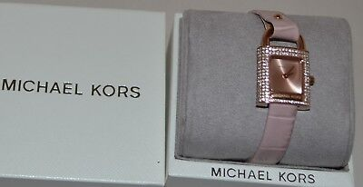 MICHAEL KORS MK2706 WOMEN'S ISADORE PINK EMBOSSED LEATHER STRAP WATCH NEW W/TAG