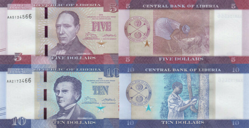 Liberia 2 Note Set: 5 & 10 Dollars (2016) - p31 and p32